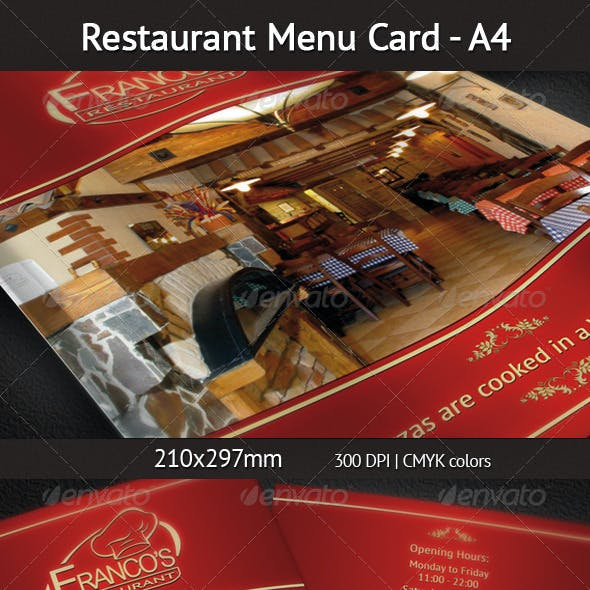 Restaurant Menu Card A4