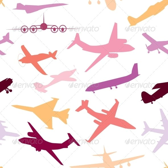 Aircraft, Airplane, Plane Flying Vector Seamless