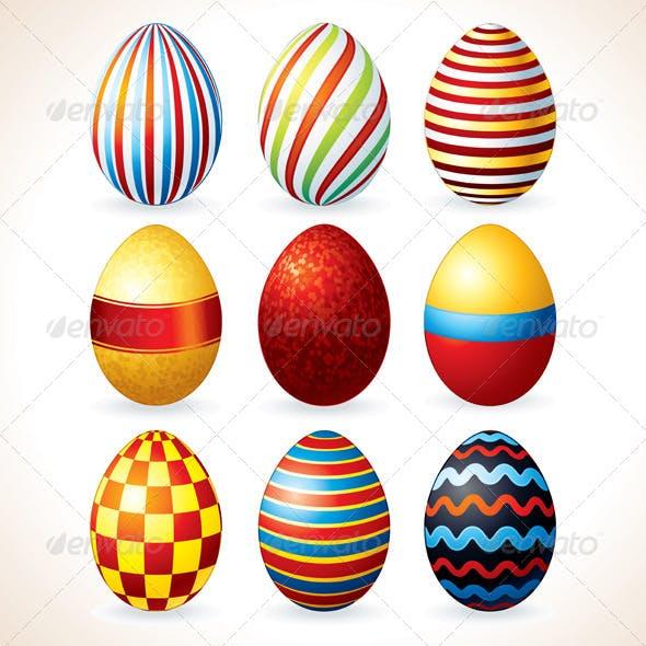 Easter Eggs Set. Vector Clip Art