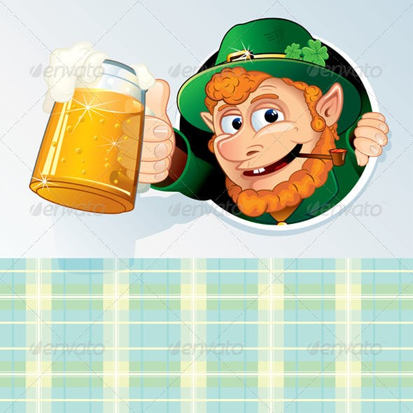 Cartoon Card with Funny Leprechaun