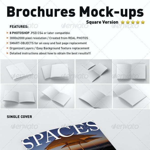 Photorealistic Square Brochure Mock-ups