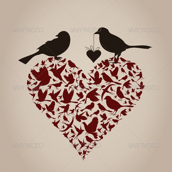 Birds on Heart - Animals Characters