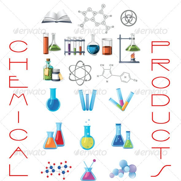 Vector Chemical Products Set Symbol