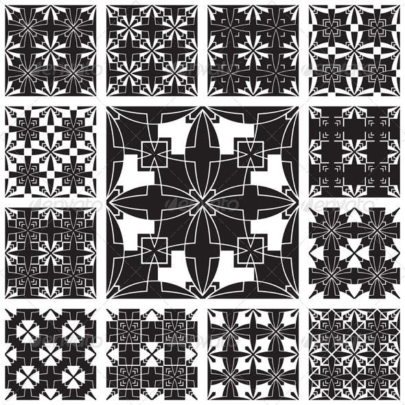 Black and White Geometric Seamless Pattern Set