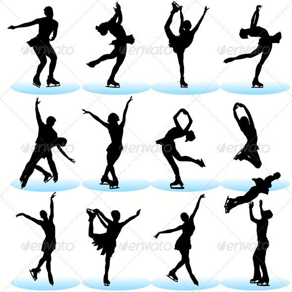 Figure Skating Silhouettes Set - Sports/Activity Conceptual