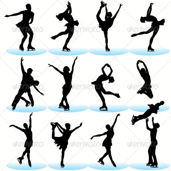 Figure Skating Silhouettes Set