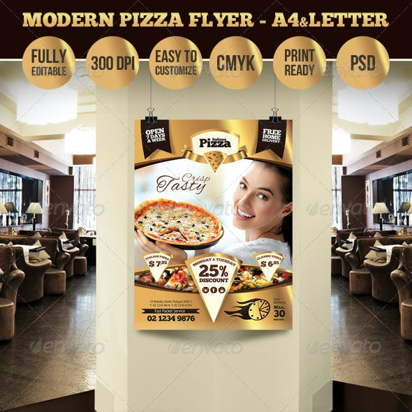 Modern Pizza Flyer - A4 & Letter Sizes