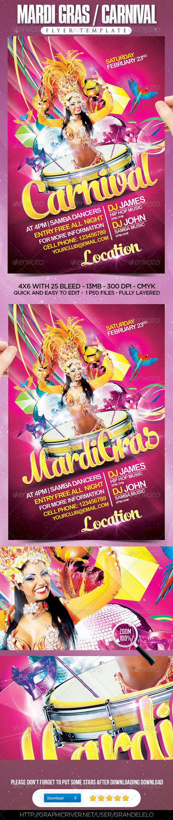 Mardi Gras / Carnival Flyer Template - Clubs & Parties Events