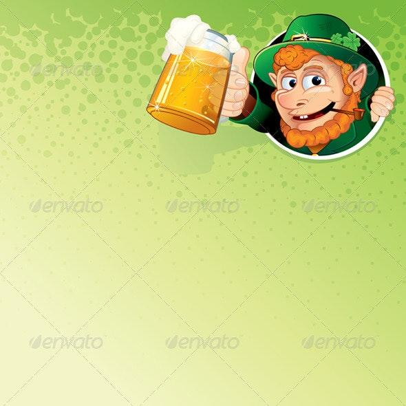 Cartoon Leprechaun with Mug of Ale - Backgrounds Decorative