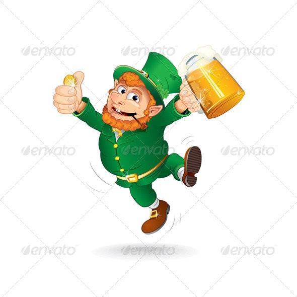 Cartoon Leprechaun Jumping - Characters Vectors