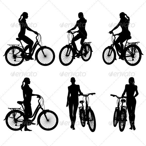 Girl and Bicycle Silhouette Pack - People Characters