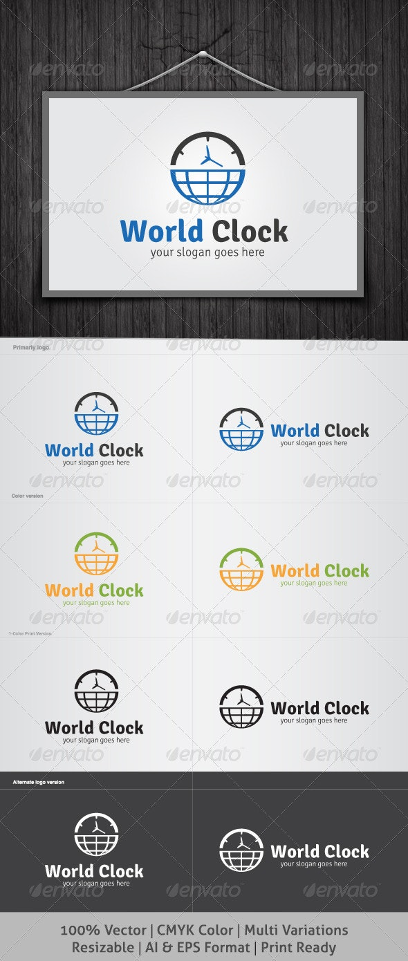 World Clock Logo - Objects Logo Templates