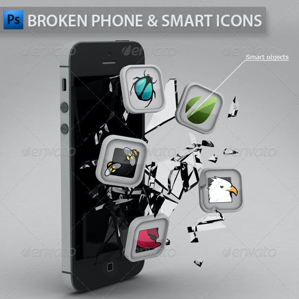 Broken Phone with Smart Icons