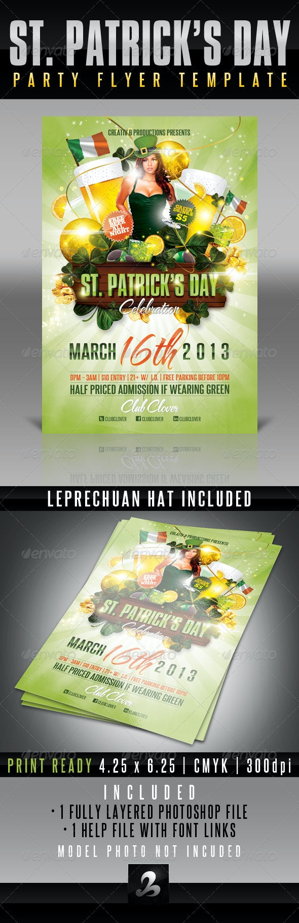 St. Patrick's Day Party Flyer Template 3 - Holidays Events