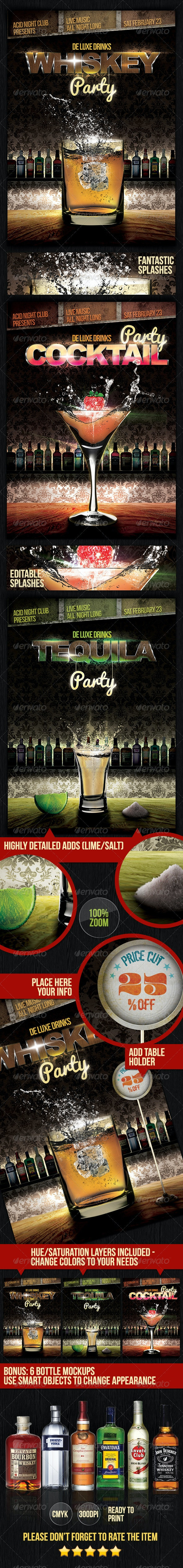 Deluxe Drinks Party Flyers - Clubs & Parties Events