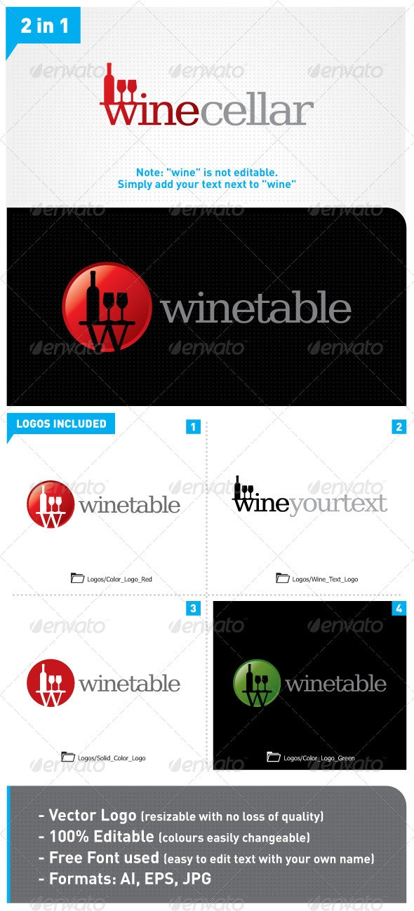 Wine Logo 2in1 - Food Logo Templates
