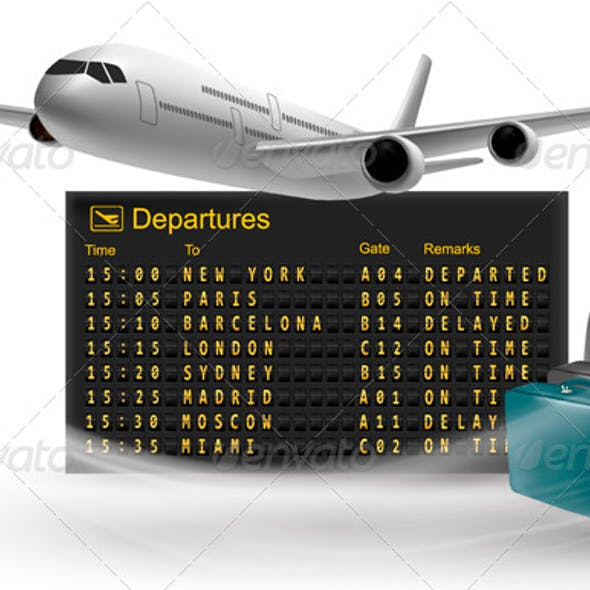 Travel Background with Mechanical Departures Board