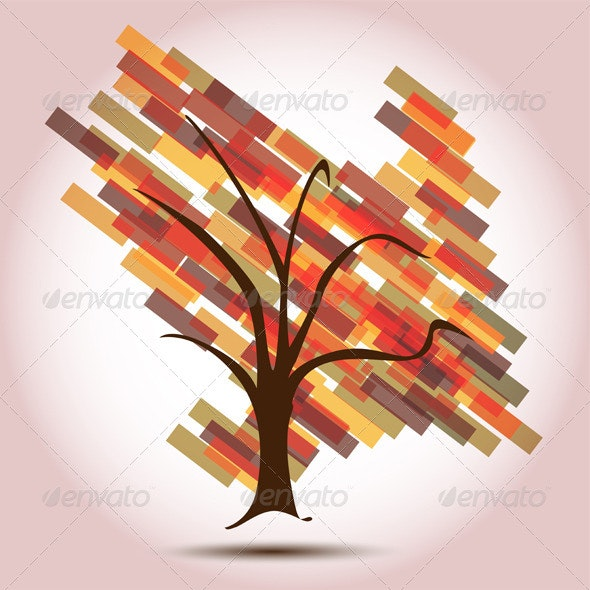 Autumn Tree with Decreasing Arrow  - Flowers & Plants Nature