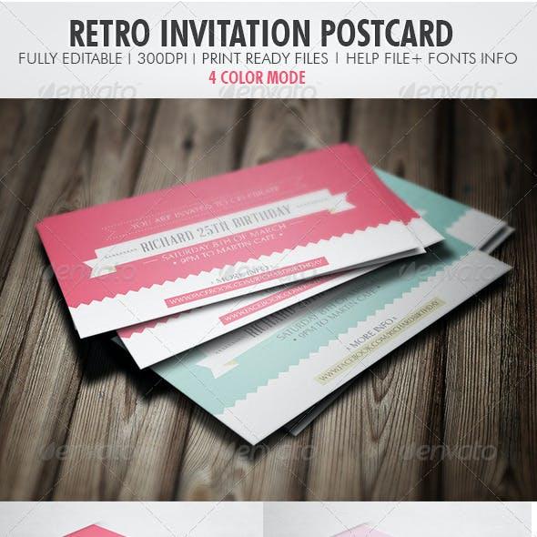 Retro Invitation Postcard