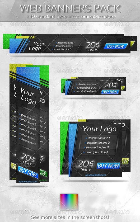 Slant Web Banners Pack - Banners & Ads Web Elements