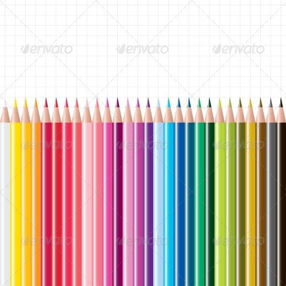 Vector Set of Coloured Pencils