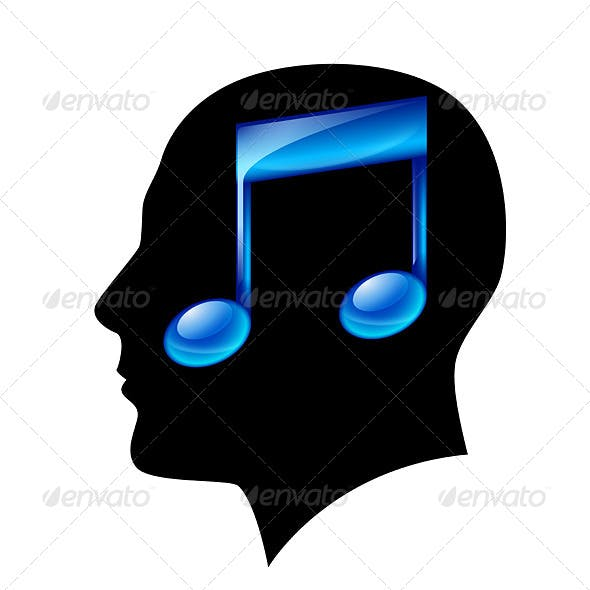Head of Man with Musical Note
