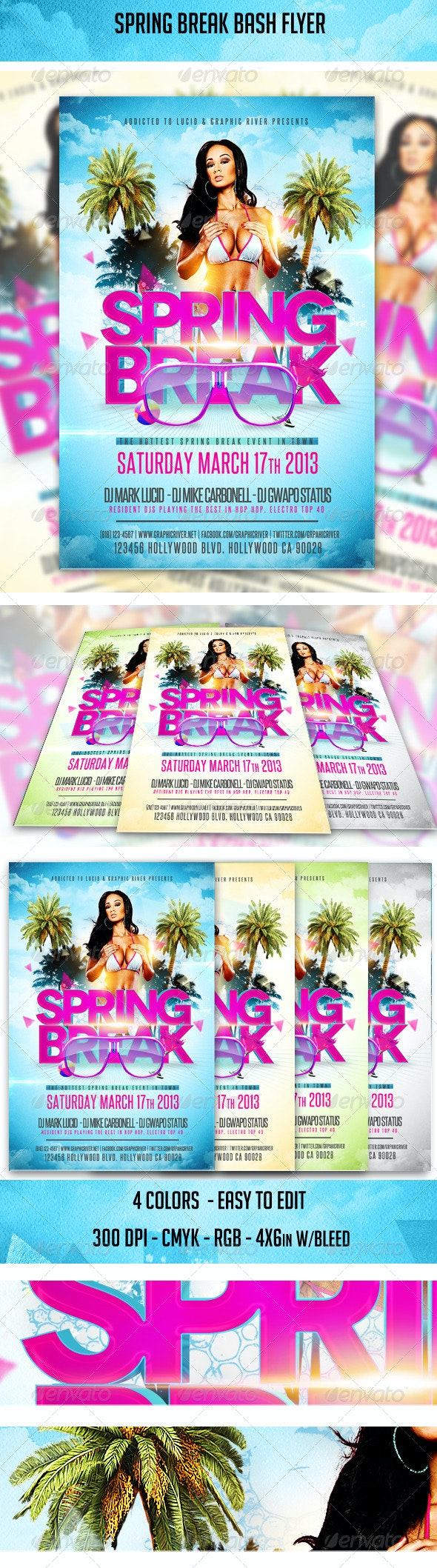 Spring Break Bash Flyer - Clubs & Parties Events