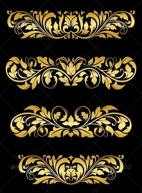 Golden floral embellishments - Patterns Decorative