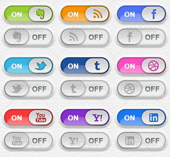 9 Toggle Switch Social Media Buttons - Buttons Web Elements