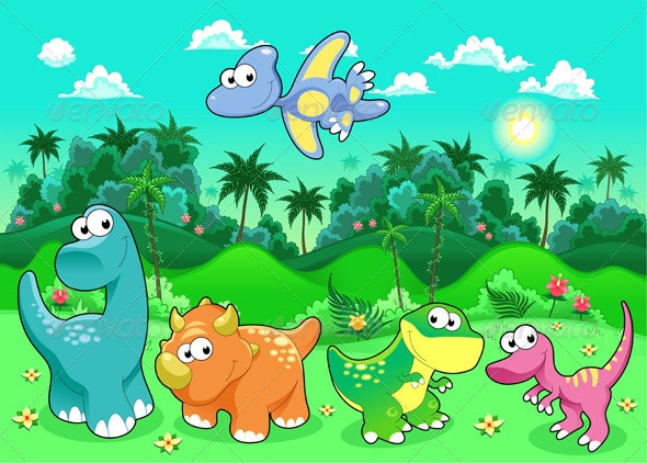 Dinosaurs in the Forest.  - Animals Characters