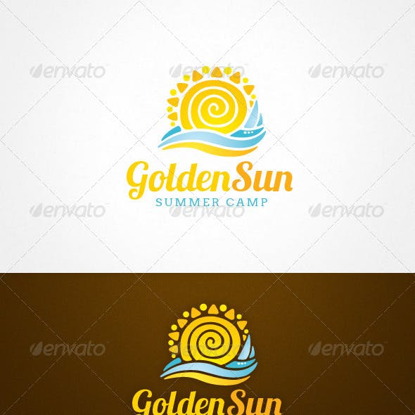 Golden Sun Summer Camp Resort Logo Template