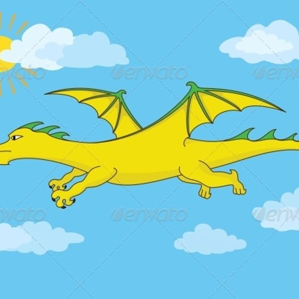 Golden Fairy Dragon Flies in the Blue Sky