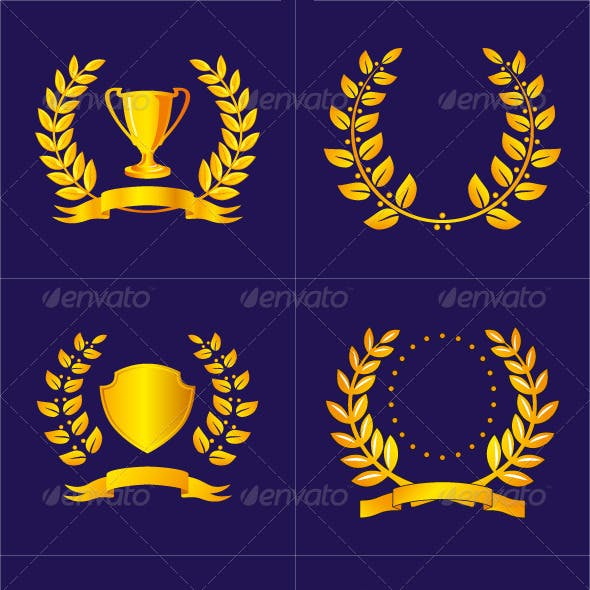 Laurel Wreaths with Ribbons and Shields