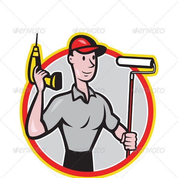 House Painter Handyman Cartoon