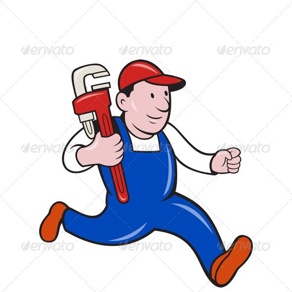 Cartoon Plumber With Monkey Wrench