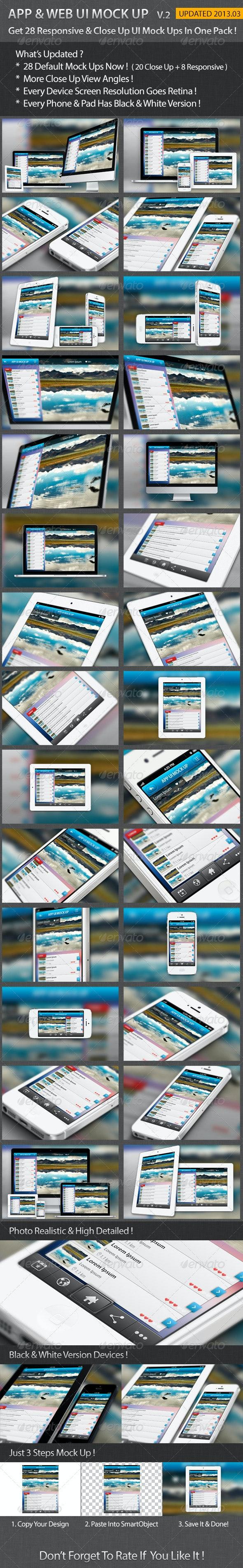 Apps / Website UI Representation Mock Up - Multiple Displays