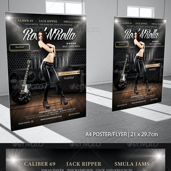Rock And Roll Music Poster Flyer Template
