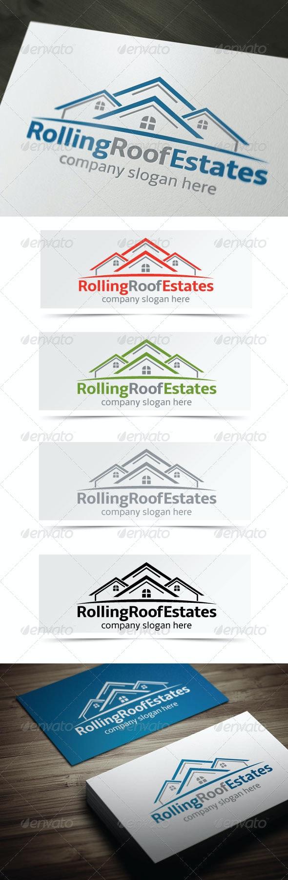 Rolling Roof Estates - Buildings Logo Templates