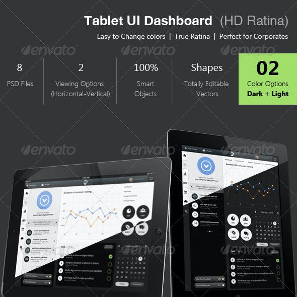 Tablet Dashboard Ui - Retina Ready