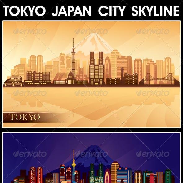 Tokyo Japan City Skyline Silhouettes Set
