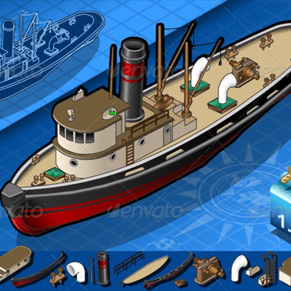 Isometric Old Tugboat