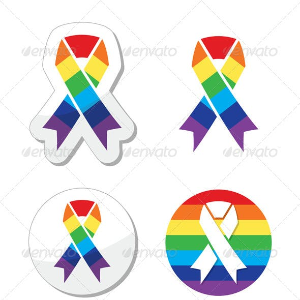 Rainbow Flag Ribbon - Symbol of Gay Pride