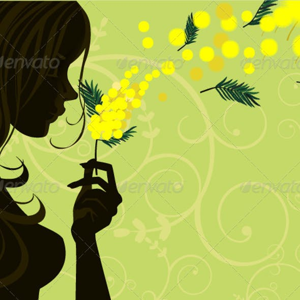 Mimosa Woman with Green Background