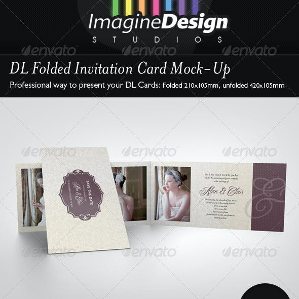 DL Folded Invitation Card Mock-Up