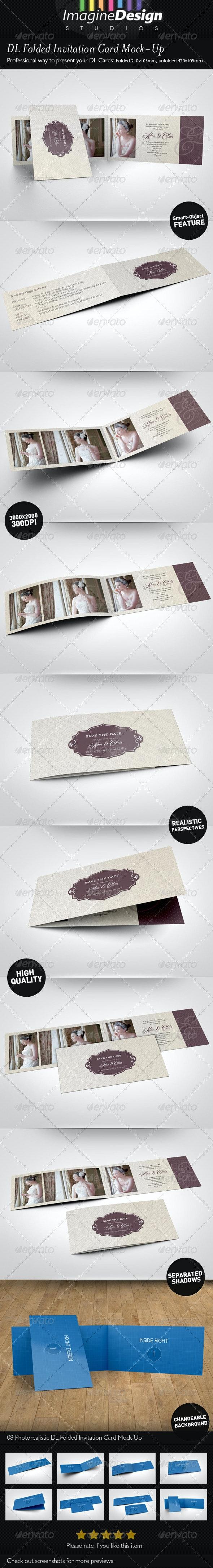 DL Folded Invitation Card Mock-Up - Print Product Mock-Ups