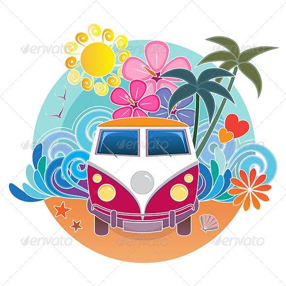 Retro Surfing Camper Van
