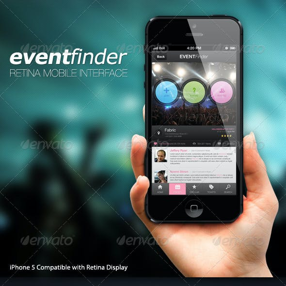 Event Finder Retina Mobile Interface