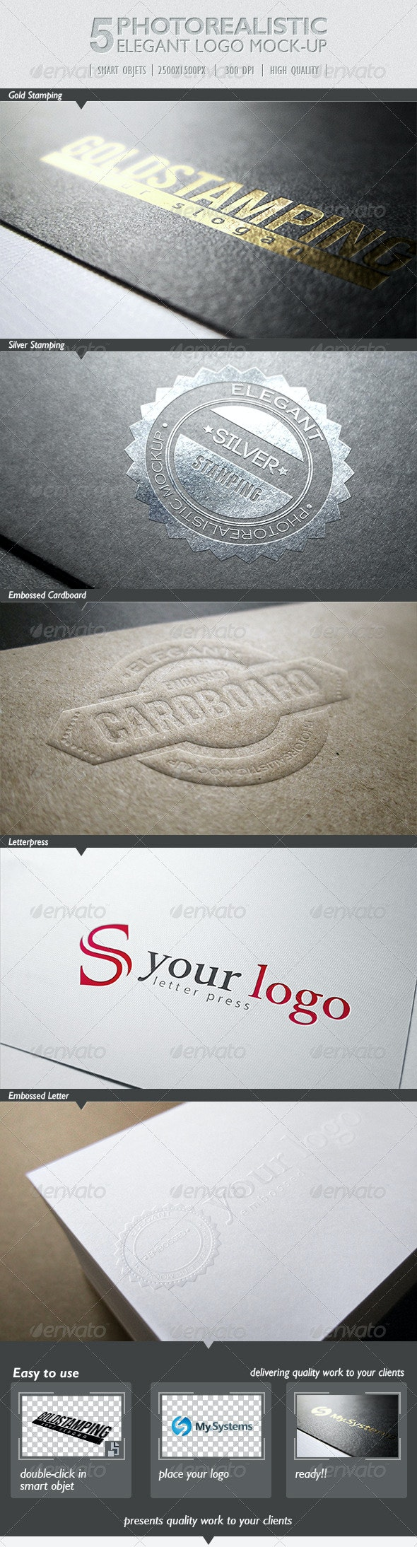 5 Photorealistic Logo Mock-Up | Pack 1 - Print Product Mock-Ups
