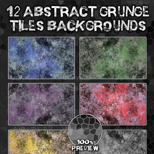 12 Abstract Grunge Tiles Backgrounds