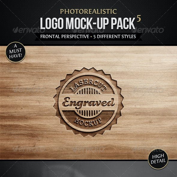 Photorealistic Logo Mock-Up Pack 5
